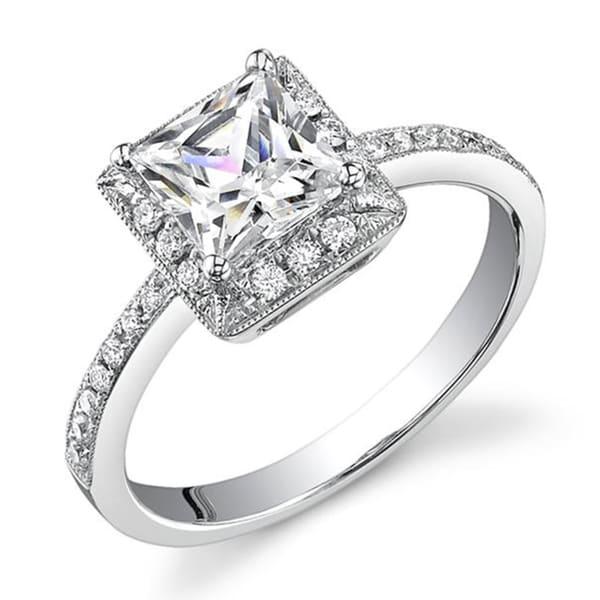 18k gold 3 4ct tdw princess halo engagement ring
