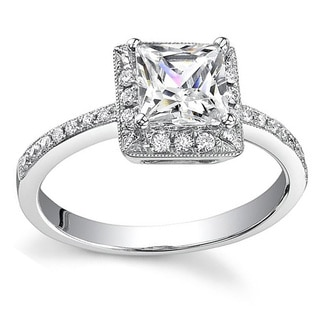 18k White Gold 3/4ct TDW Diamond Princess Cut Halo Engagement Ring
