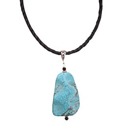 Braided Leather and Sterling Silver Turquoise Necklace