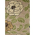 Hand-tufted Floral Green Oasis Wool Rug (5' x 8')