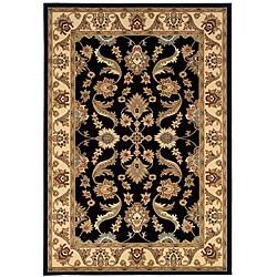 Indoor Black Floral Rug (9' x 13')