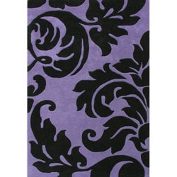 Alliyah Handmade Purple New Zealand Blend Wool Rug (5'x8')