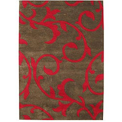 Hand-tufted Sabrina Brown Wool Area Rug (5' x 8')