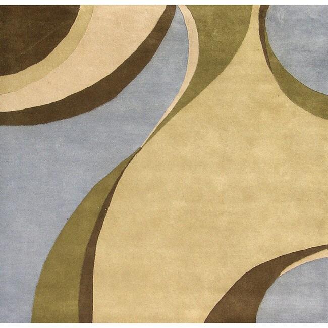 Alliyah Handmade Multi Color New Zealand Blend Wool Rug (6' x 6')