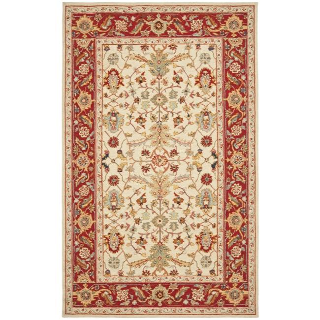 Safavieh Hand-hooked Tabriz Ivory/ Red Wool Rug (3'9 x 5'9)
