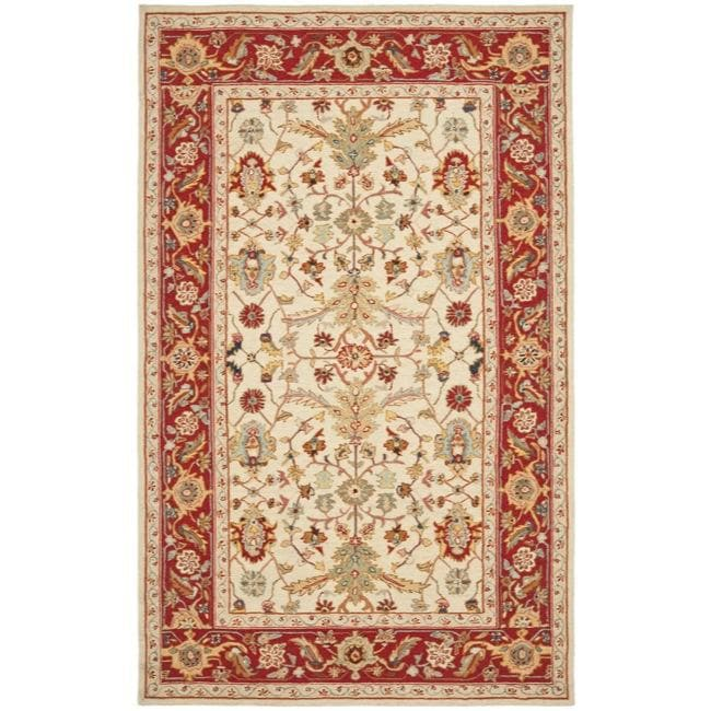 Safavieh Hand-hooked Tabriz Ivory/ Red Wool Rug (7'9 x 9'9)