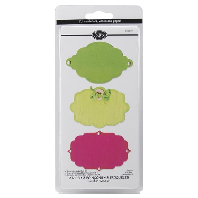 Sizzix Sizzlits Decorative Label No. 4 Die Set (Pack of 3)