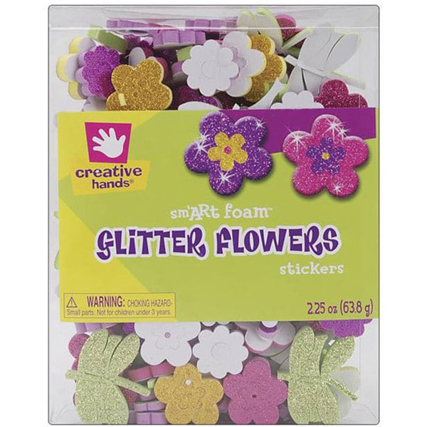 Multicolored Glitter Foam Flower Craft Sticker Embellishments