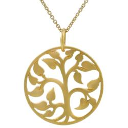 Journee Collection Sterling Silver Vermeil-style Tree of Life Necklace