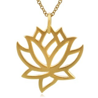 Journee Collection Sterling Silver Vermeil-style Lotus Necklace