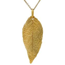Tressa Sterling Silver Vermeil-style Leaf Necklace