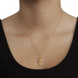 Journee Sterling Silver Vermeil-style Hamsa Hand Necklace