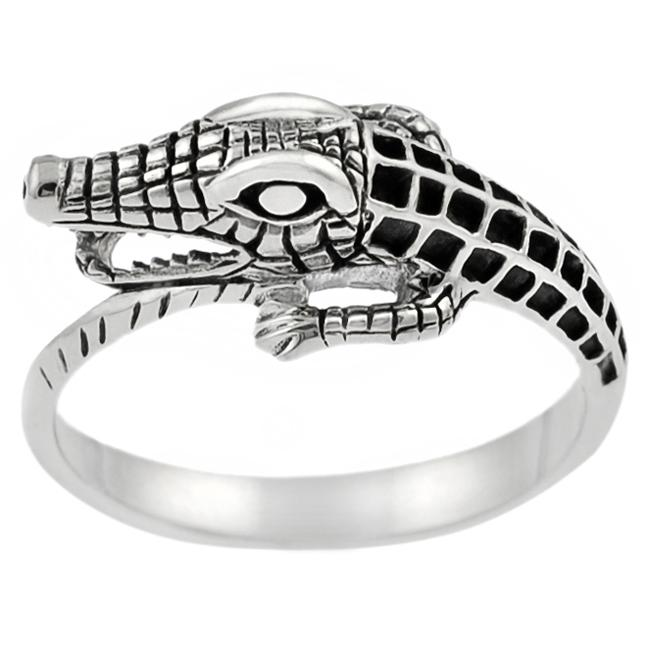 Journee Collection Sterling Silver Men's Alligator Ring