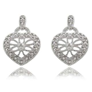 Finesque Sterling Silver Diamond Accent Heart Earrings