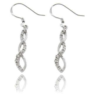 Finesque Sterling Silver 1/10ct TDW Diamond Twist Earrings (I-J,I2-I3)