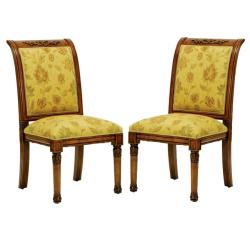 English Light Gold/ Brown Side Chairs (Set of 2)