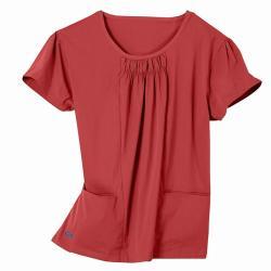 IguanaMed Women's Shirred Jewel Tamarillo 2-pocket Top