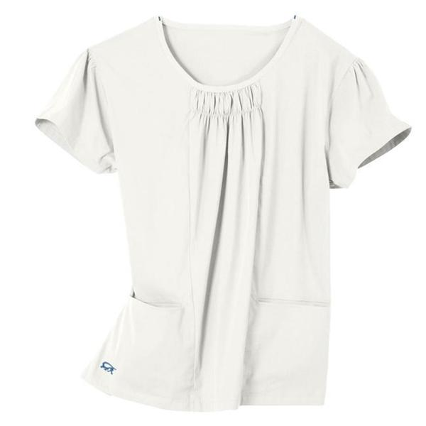 IguanaMed Women's Shirred Jewel Cream 2-pocket Top