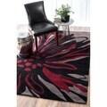 nuLOOM Handmade Black Norwegian Floral Pattern Venom Rug (7'6 x 9'6)