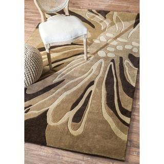 nuLOOM Handmade Brown Norwegian Floral Pattern Venom Rug (7'6 x 9'6)