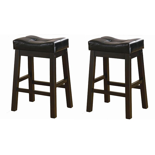 Black 24-inch Bicast Leather Counter-height Saddle Bar Stools (Set of 2)