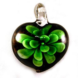 Murano-inspired Hand-crafted Green Glass Flower Heart Pendant