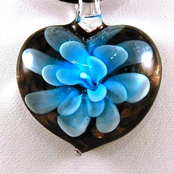 Murano Inspired Layered Blue Flower Heart Glass Pendant