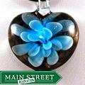 Murano Inspired Layered Blue Flower Heart Glass Pendant