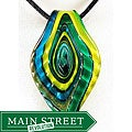 Murano Inspired Glass Green and Blue Ripple Leaf Pendant