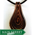 Murano-inspired Glass Gold-and-black Swirl Leaf Pendant