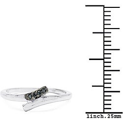 Malaika Sterling Silver Blue Diamond Accent Bypass Ring