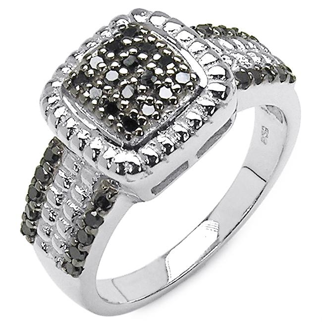 Malaika Sterling Silver 3/8ct TDW Black Diamond Fashion Cocktail Ring