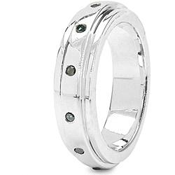 Malaika Sterling Silver 1/6ct TDW Blue Diamond Ring