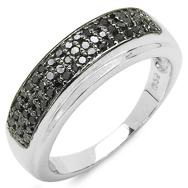 Malaika Sterling Silver 1/3ct TDW Black Diamond Fashion Ring