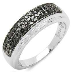 Malaika Sterling Silver 1/3ct TDW Black Diamond Fashion Ring