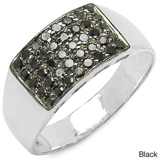 Malaika Sterling Silver 1/2ct TDW Black or Blue Diamond Fashion Ring