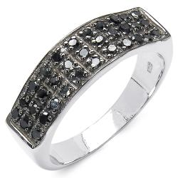 Malaika Sterling Silver 3/8ct TDW Black Diamond Fashion Ring