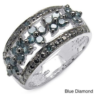 Malaika Sterling Silver 5/8ct TDW Blue Diamond Floral Ring