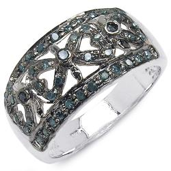 Malaika Sterling Silver 3/8ct TDW Blue Diamond Fashion Ring