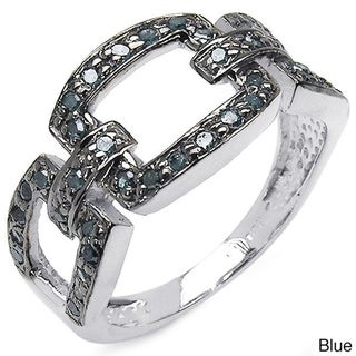 Malaika Sterling Silver 3/8ct TDW Blue or Champagne Diamond Link Design Ring