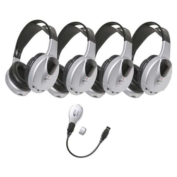 Califone 4-Person Infrared Stereo/Mono Wireless Headphones Set Via Er