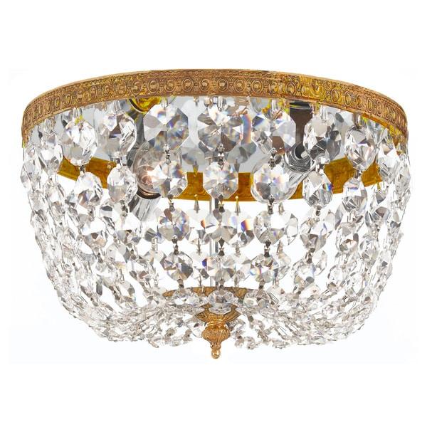 Richmond 2-light Olde Brass Crystal Flush Mount