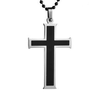 Stainless Steel Men's Black Resin Cross Necklace