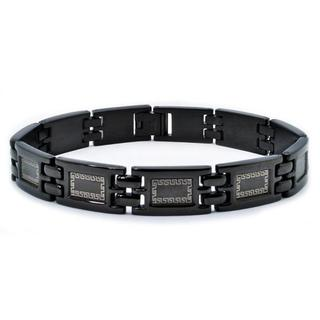 Crucible Stainless Steel Men's Blackplated Greek Key Design Bracelet