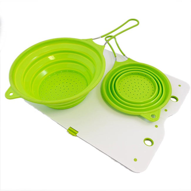 Silvermark Green/ White 3-pc Collapsible Silicone Colander Set with Cutting Board