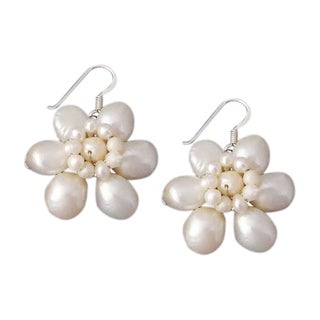 Silver Freshwater Pearl Flower Earrings (3-10 mm) (Thailand)