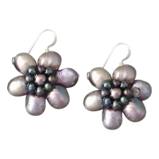 Silver Black Freshwater Pearl Flower Earrings (3-10 mm) (Thailand)