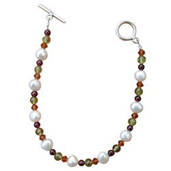 Sterling Silver Freshwater Pearl and Gemstone Bracelet (7 mm)