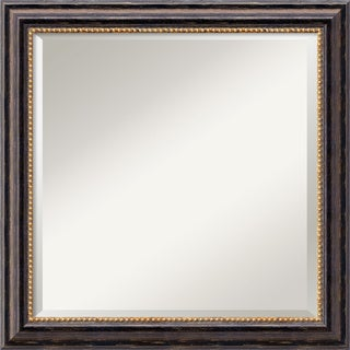 Tuscan Dark Brown Rustic Square Wall Mirror