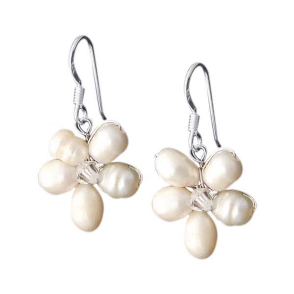 Sterling Silver White Pearl Flower Earrings (3-6 mm) (Thailand)